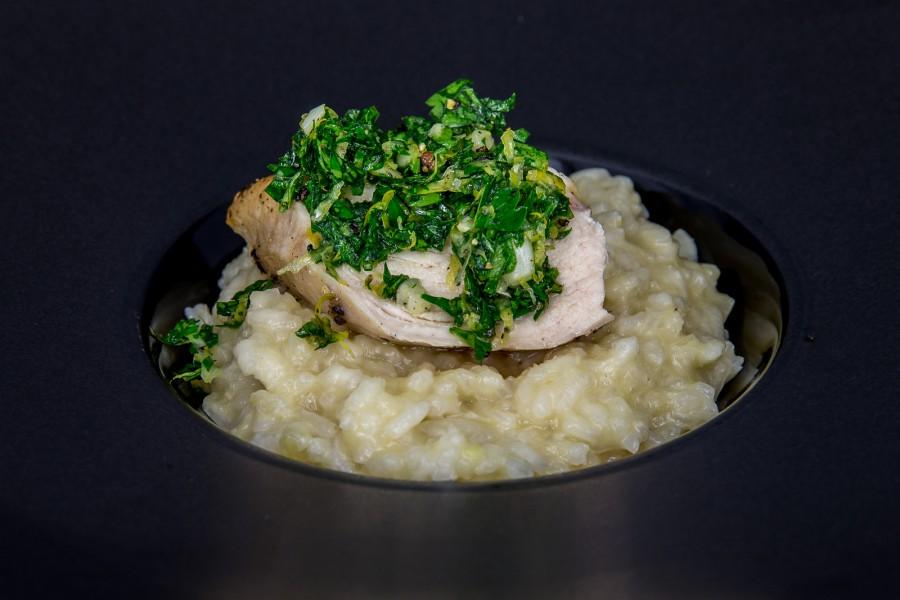 Risotto und Huhn